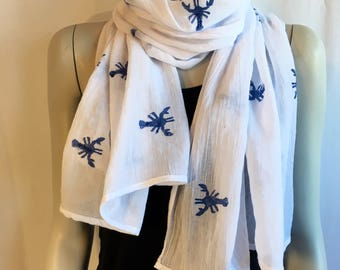 White Nautical scarf / Lightweight / Lobster stamp / 100% Polyester