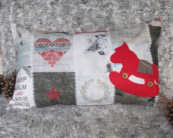 "Christmas cushion 30x50cm (12""x20"") White Christmas, Rocking Horse, Throw Pillow, Winterhome, Scandinavian, shabby, Cottagestyle, Patchwork"