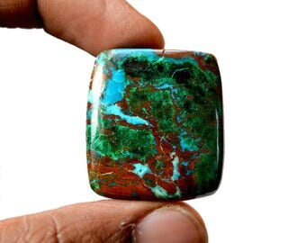 Chrysocolla 55.5 Cts AAA Quality Natural Gemstone Attractive Designer Rectangle Shape Cabochon 30x27x6 MM R14114