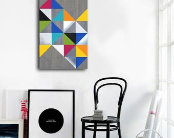 Geometric Metal Wall Art geometric wood art abstract metal art wall decor metal wood