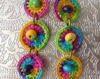 crocheted multicolor earrings
