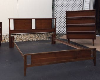 Mid Century Bassett tavern walnut full size bed