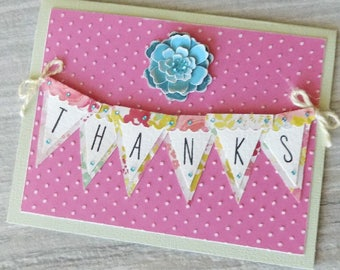 Thank You Card,Homemade Thank You Note Card, Hand Stamped Floral Thank You Card, Thank You, Pink Thank You Card for Girls, Blank Thank You
