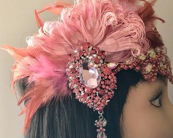 1920s headpiece/Gatsby headpiece/Peacock headpiece/Wedding headpiece/Pink headpiece/Rhinestone headpiece/Wedding accessories/The Pink Lady