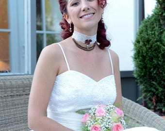 Bridal necklace and earrings Brown lace