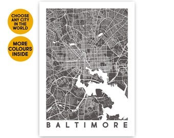 Baltimore map print Custom map wall art Travel map Baltimore city map art Baltimore Maryland Wife gift for Men Gift for Brother gift for Men