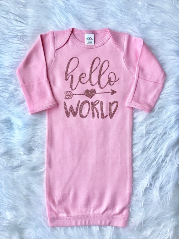 Hello World Sparkly ROSE GOLD Infant Sleep Gown Baby Girl