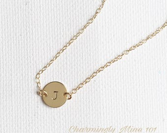 Personalized jewelry. Initial necklace. Gold filled personalized necklace. Bridesmaid necklace. Personalized gift. Hand stamped necklace