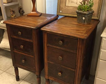 antique wood nightstands 3 drawers cabinet chest dresser hammered copper hardware