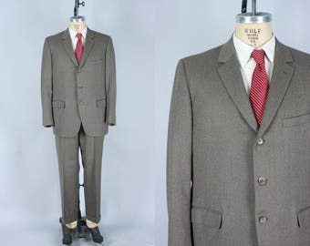 Vintage 1960s Suit | Micro Herringbone Wool Two Piece Suit From Italy | Size 43