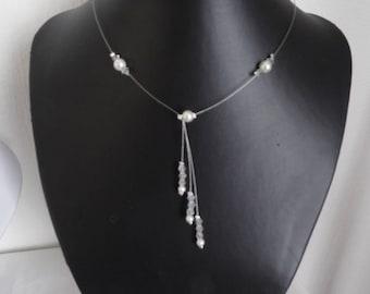 beaded necklace bridal wedding white or ivory and bridesmaid swarovski crystal bicones