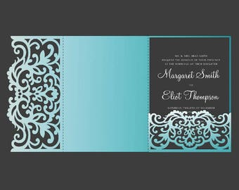 Tri Fold pocket envelope 5x7 Wedding Invitation DXF SVG EPS Template, laser cut file, For Silhouette Cameo & Cricut cutting machines