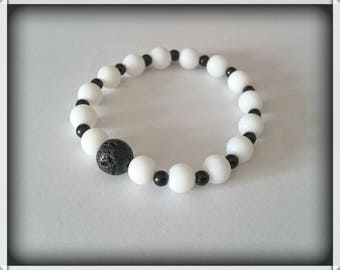Black and white agate and lava Bead Bracelet