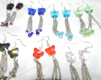 Earrings, Crystal Butterflies and Silver Plated Chain, Dangles, Swarovski Crystal