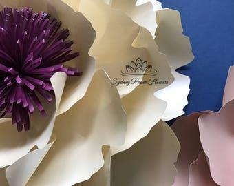 VIDEO tutorial big PEONY Flower template/Paper flower pattern/pdf svg paper flower/diy paper flower/flower backdrop/Paper flower wall
