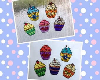 Cupcake cake window clings, set of 5 cupcakes cakes, reusable static cling decals, faux stained glass effect, decal, cup cakes, suncatcher