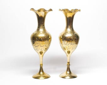 Pair of Brass Indian Vases With Feather Engraving