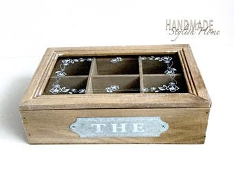 wooden tea box, glass lid wooden tea box, tea storage box, rustic tea box, country tea box