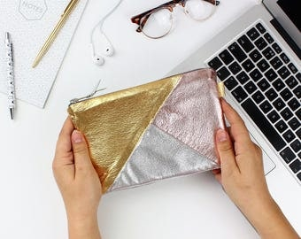 Rose Gold Silver Metallic Leather Bag / Soft Leather Bag, Leather Purse, Gift For Her, Leather Makeup Bag, Big Leather Bag, Leather Clutch,