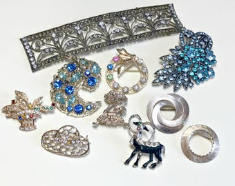 Vintage rhinestone repair lot, rhinestone brooch lot, vintage craft lot. vintage jewelry repair lot, jewelry craft lot upcycle lot 10 pieces