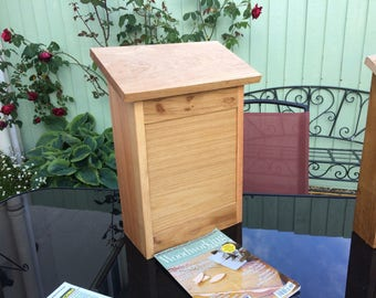 Large Oak Parcel Box / Post Box with hinged lid.