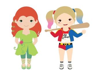 Harley Quinn and Poison Ivy Digital Clipart