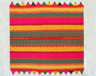 PERUVIAN FRAZADA  Native American Hippie Blanket, Peruvian Colorful Rug,  Alpaca Folk Frazada,