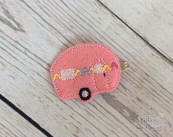 Caravan hair clip - Pink - Feltie - Snap Clip - Outdoors - Holiday - Camping - Hair Accessory - Girls Hair -  Summer - Barrette - Adventure