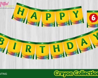 Instant Download Crayon Art Party Bunting Banner