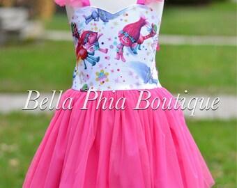 Girls Trolls Dress - Trolls Birthday - Tulle Trolls Dress - Birthday Dress - Poppy Dress - White Trolls Dress