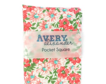 Floral Pocket Square  - Cotton Handkerchiefs - Boys Pocket Square - Wedding Handkerchief - Designer Cotton Pocket Square for Ring Bearer