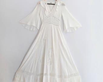 Vintage 70s Boho Angel Gauze Dress