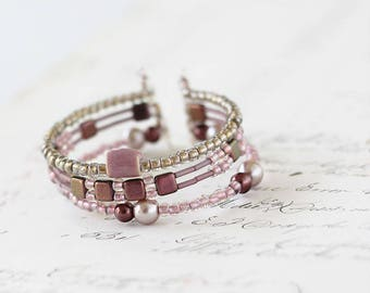 Multi Strand Bracelet - Beaded Bracelet Stack -  Rose Gold Bracelet - Beaded Cuff Bracelet -  Date Night - Girlfriend Beaded Bracelet