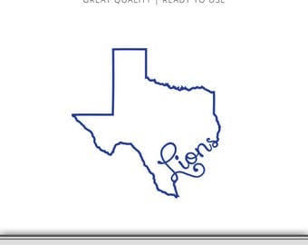 Texas Lions Graphic - Texas SVG - Texas State Outline - Texas Silhouette File - DXF - SVG - 7 Files Total - Digital Download - Ready to Use!