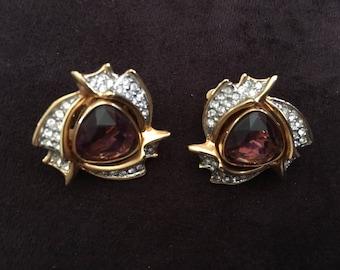 Swarovski Amethyst and Clear Crystal Rhinestone on Gold Toned Metal Clip Earrings 1285