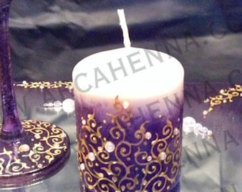 Candle decorated with Rhinestones and paint