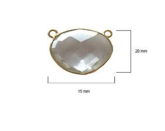 CLEAR QUARTZ OVAL 15X20 mm gold double q