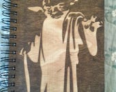 Yoda Etched Wooden Notebook