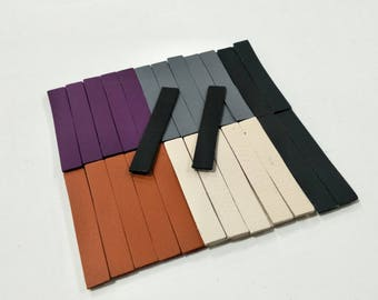 Leather Rectangle, 50 pcs. (25 Pairs), 2.5 inch. Long., Mixed Colors, Leather Rectangle Die Cut, Rectangle Shape, Rectangle Cut Outs,