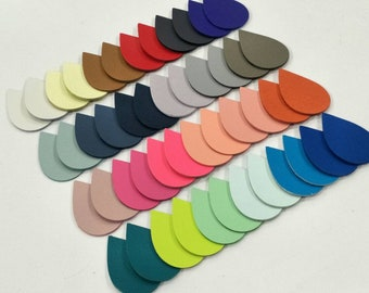 Leather Teardrops, 50 Pcs. (25 Pairs), 40mm.  50mm. 57mm. Long, Mixed Colors, Teardrops Die Cut, Teardrops Shape, Earing Accessories.