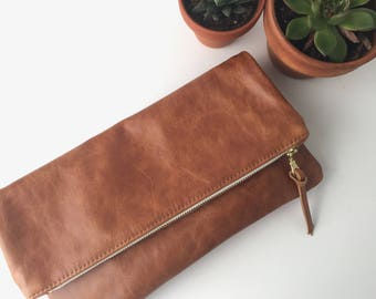 Brown Leather Foldover Clutch // Evening Clutch // Leather Bag.