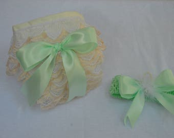 Mint and Ivory Newborn Diaper Cover Set, Newborn photography props, Baby girl 1st picture outfit