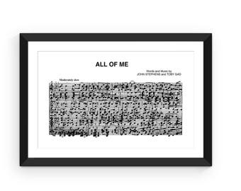 All Of Me By John Legend DIY Song Lyric Wall Art Sheet Music