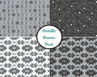 4 prints, Bonne Nuit, black, gray white, bear, star, Camelot Fabric, 1 of each print