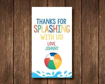 Birthday Pool Party Favor Tags - Digital Copy