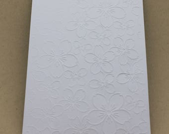 5 embossed cards - embossed flowers