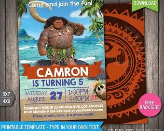 Maui Moana Invitation - 50% OFF - INSTANT DOWNLOAD - Printable Disney Moana Maui Birthday Invite - DiY Personalize & Print - (MOin06)