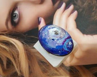 """Large ring """"Nebula"""" hand painted."""