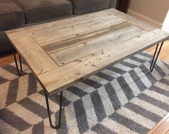 Rustic Weathered Grey Retro Wood Coffee Table on Iron Hairpin Legs