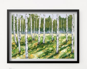 Birch tree Print, Landscape art, Aspen tree, Fine art print, Forest Painting, Tree painting, Landscape print, Birch tree wall decor